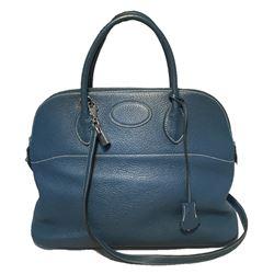 Hermes Mykonos Blue Clemence Bolide Handbag W/ Shoulder Strap