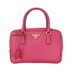 Prada Double Saffiano Mini Double-zip Lux Tote Pink