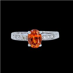1.30CT NATURAL SPESSARTITE 14K WHITE GOLD RING