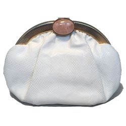 Judith Leiber Vintage White Lizard Leather Clutch
