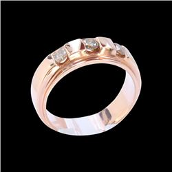 0.58CT NATURAL CHAMPANGE RED DIAMOND 14K R/G RING