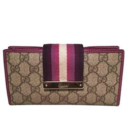 Gucci Monogram Purple Striped Canvas Wallet