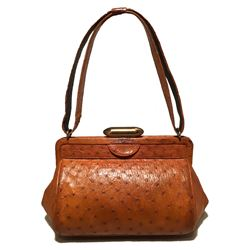Vintage Deutsch Tan Ostrich Handbag