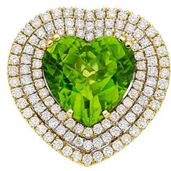GIA 12.54CT NATURAL BURMA PERIDOT 18K WHITE AND YELLOW GOLD RING