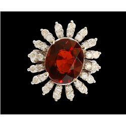 6.36CT NATURAL SPESSARTITE GARNET 14K WHITE GOLD RING