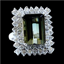 10.35ct Tourmaline 14K White Gold Ring