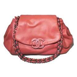Chanel Coral Leather Top Flap Shoulder Bag