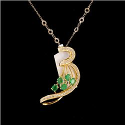 1ct Emerald 14K Yellow Gold Pendant