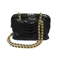 Judith Leiber Black Alligator Shoulder Bag