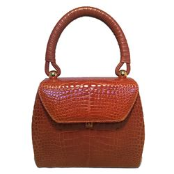 Maxima for Contessa Anna Vintage Tan Alligator Handbag