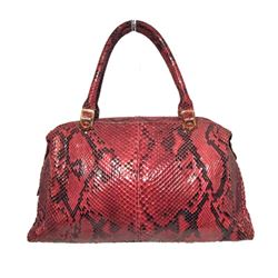 Judith Leiber Vintage Red Snakeskin Doctor Bag