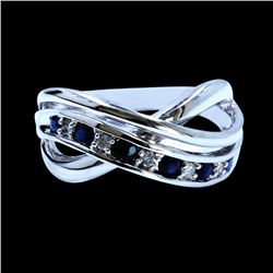 0.40CT NATURAL CEYLON SAPPHIRE 14K WHITE GOLD RING