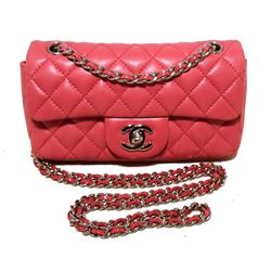 Chanel Dark Pink Quilted Classic Extra Mini Flap Shoulder Bag