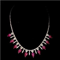 39.86ct Burma Ruby (No Heat) 14K White Gold Necklace