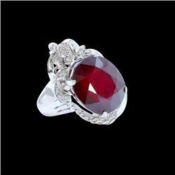 21.25ct Ruby 14K White Gold Ring