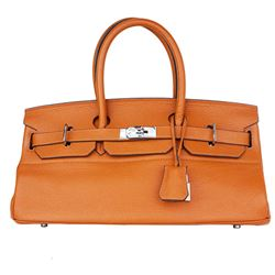 Hermès JPG Shoulder Birkin Birkin 42 Orange Clemence Leather Satchel