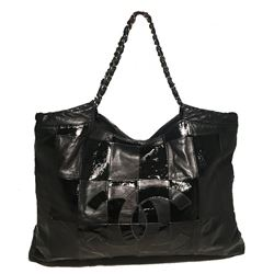 Chanel Black Patent Leather Checkered Shoulder Bag Tote