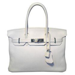 Hermes White Togo Leather 30cm Birkin Bag
