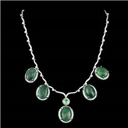 92.21ct Emerald CAB 14K/18K White Gold Necklace and Pendant