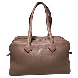 Hermes Grey Clemence Leather Victoria II 35