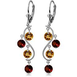Genuine 4.6 ctw Garnet & Citrine Earrings Jewelry 14KT White Gold - REF-53V4W