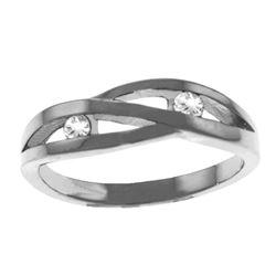 Genuine 0.10 ctw Diamond Anniversary Ring Jewelry 14KT White Gold - REF-54A9K