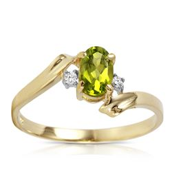 Genuine 0.46 ctw Peridot & Diamond Ring Jewelry 14KT Yellow Gold - REF-28F3Z