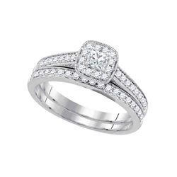 0.50 CTW Princess Diamond Wedding Bridal Ring 14k White Gold - REF-67M4H