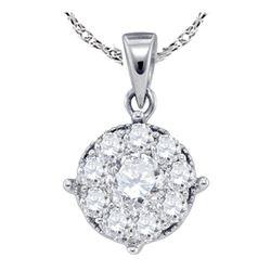 0.26 CTW Diamond Cluster Pendant 14KT White Gold - REF-22F4N