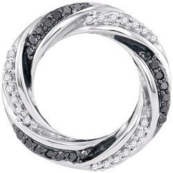 0.25 CTW Black Color Diamond Circle Pendant 10KT White Gold - REF-24M2H