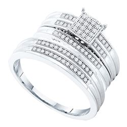 0.25 CTW His & Hers Diamond Cluster Matching Bridal Ring 10KT White Gold - REF-44H9M
