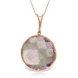 Genuine 18 ctw Amethyst Necklace Jewelry 14KT Rose Gold - REF-55K5V