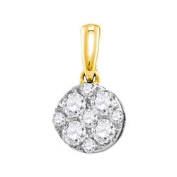 0.50 CTW Diamond Cluster Pendant 14KT Yellow Gold - REF-52W4K