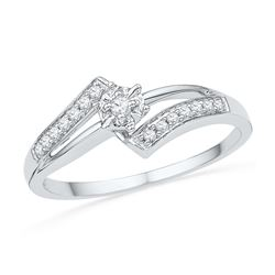 0.10 CTW Diamond Solitaire Bridal Engagement Ring 10KT White Gold - REF-14Y9X