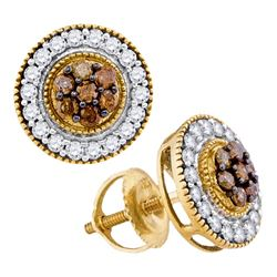 0.62 CTW Cognac-brown Color Diamond Cluster Screwback Earrings 10KT Yellow Gold - REF-30F2N