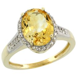 Natural 2.49 ctw Citrine & Diamond Engagement Ring 14K Yellow Gold - REF-42M2H