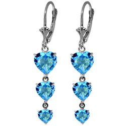 Genuine 6 ctw Blue Topaz Earrings Jewelry 14KT White Gold - REF-66Z9N