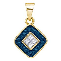 0.22 CTW Blue Color Diamond Diagonal Square Pendant 10KT Yellow Gold - REF-14W9K