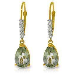 Genuine 3.15 ctw Green Amethyst & Diamond Earrings Jewelry 14KT Yellow Gold - REF-44P3H