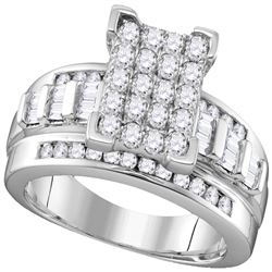 1 CTW Diamond Rectangle Cluster Bridal Engagement Ring 10KT White Gold - REF-70Y4X