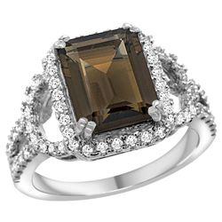 Natural 3.08 ctw smoky-topaz & Diamond Engagement Ring 14K White Gold - REF-106W3K