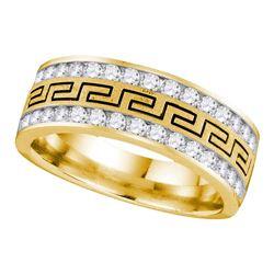 1 CTW Mens Diamond Double Row Grecco Greek Key Wedding Ring 14KT Yellow Gold - REF-112Y5X