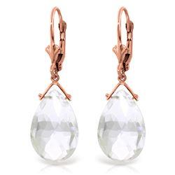 Genuine 10.20 ctw White Topaz Earrings Jewelry 14KT Rose Gold - REF-28R9P