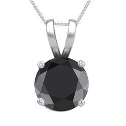 14K White Gold Jewelry 1.02 ct Black Diamond Solitaire Necklace - REF#61G8M-WJ13289