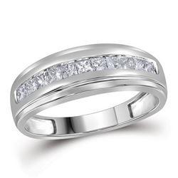 0.50 CTW Mens Princess Diamond Single Row Wedding Ring 10KT White Gold - REF-41M3H