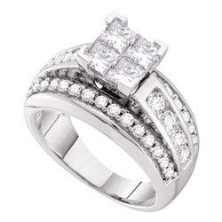 1.5 CTW Princess Diamond Cluster Bridal Engagement Ring 14KT White Gold - REF-172F4N