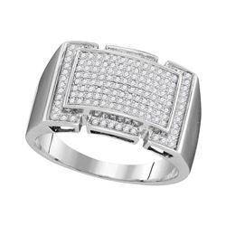 0.50 CTW Mens Pave-set Diamond Rectangle Cluster Ring 10KT White Gold - REF-48F7N