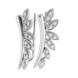0.25 CTW Diamond Floral Earrings 10KT White Gold - REF-30K2W
