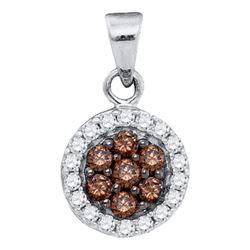 0.40 CTW Cognac-brown Color Diamond Framed Flower Pendant 10KT White Gold - REF-19F4N