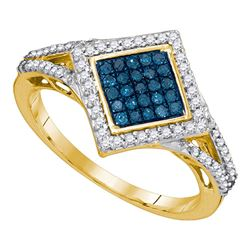 0.33 CTW Blue Color Diamond Diagonal Square Cluster Ring 10KT Yellow Gold - REF-25N4F
